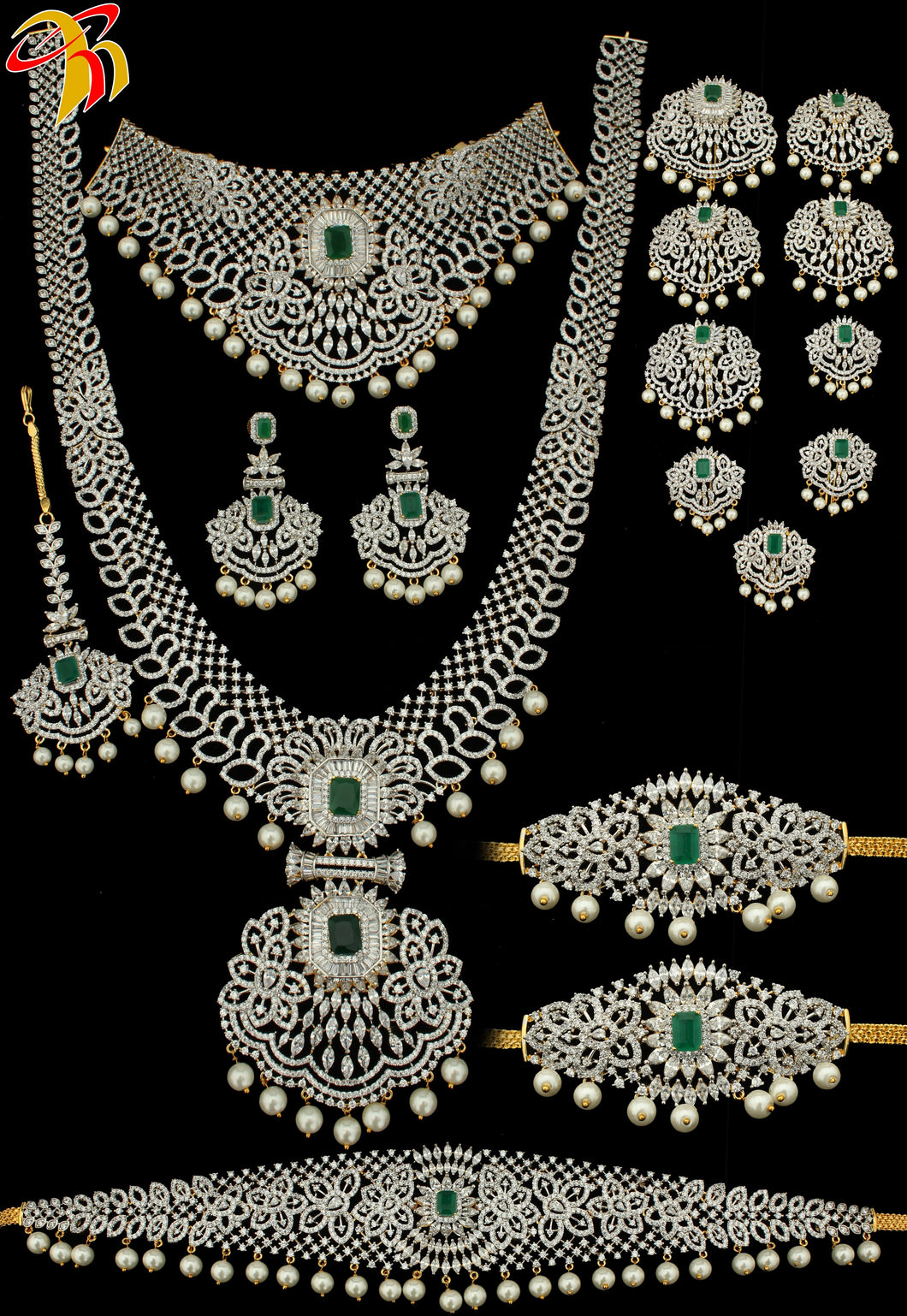 Rhodium or Two Tone Bridal Set - Prasad Novelties