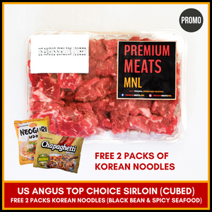 Complete Ramdon Set with USDA Angus Top Choice Sirloin (Cubes) - Premium Beef with FREE 2 Packs Korean Noodles (Black Bean & Spicy Seafood)