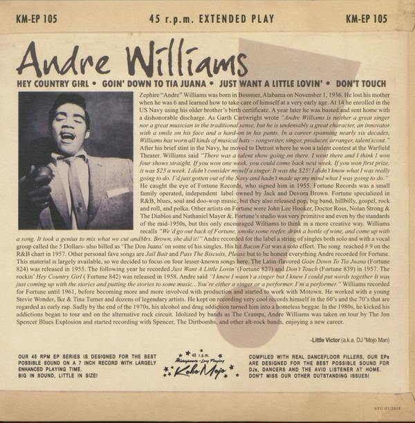 ANDRE WILLIAMS - Don't Touch! - 7inch 4-track EP backsleeve