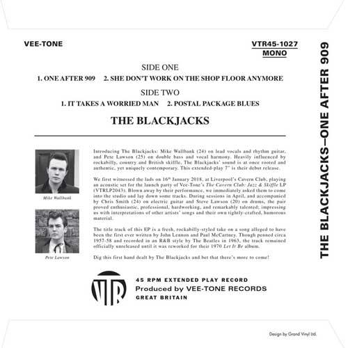 THE BLACKJACKS - One After 909 - 7inch 4-track EP backsleeve