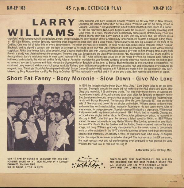 "LARRY WILLAMS - Short Fat Fanny - 7"" 4-track EP backsleeve"