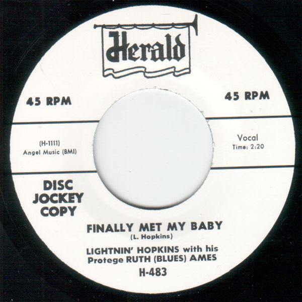 Lightnin' Hopkins - Finally Met My Baby - 7""