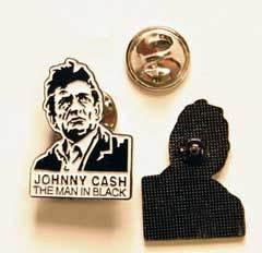 metal pin - JOHNNY CASH THE MAN IN BLACK