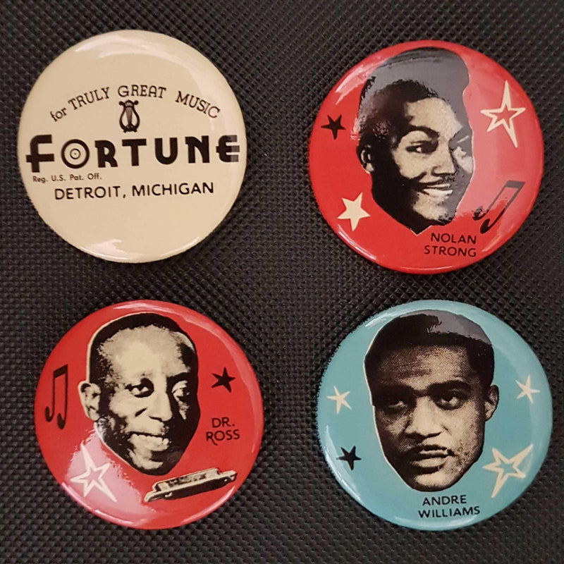 FORTUNE RECORDS - 4x button set - NOLAN STRONG - ANDRE WILLIAMS - DR. ROSS