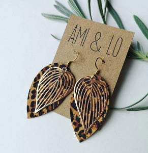 Leaf Statement Earrings (Gold colour)