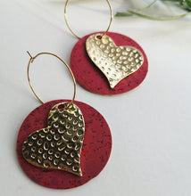 Load image into Gallery viewer, Large heart hoops