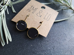 Black and silver Cork leather drop stud earrings, Ami and Lo, Vegan earrings