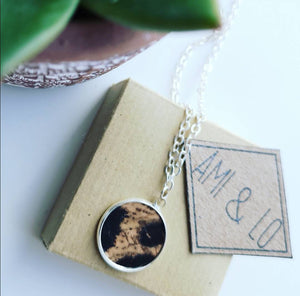 Cork leather pendant necklace (silver colour)
