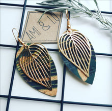 Load image into Gallery viewer, Leaf Statement Earrings (Gold colour)