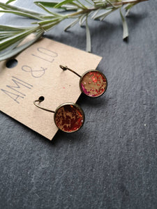 Red colour splash Cork leather drop stud earrings, Ami and Lo, Vegan earrings