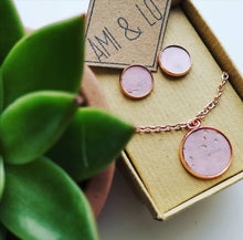 Load image into Gallery viewer, Rose gold pendant and earring set