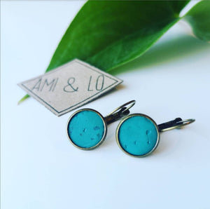 Turquoise Cork leather drop stud earrings, Ami and Lo, Vegan earrings