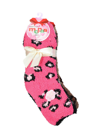 Load image into Gallery viewer, MOPAS LADIES PLUSH SOFT SOCKS (30301_LEOPARD)