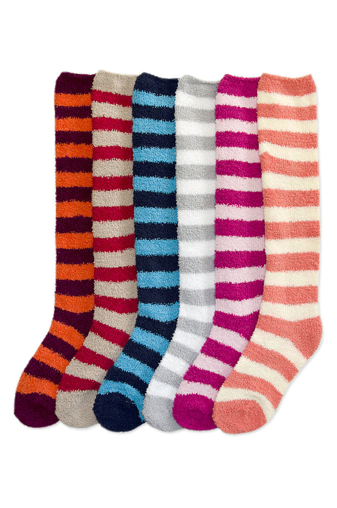 Load image into Gallery viewer, MOPAS LADIES PLUSH SOFT KNEE HIGH SOCKS (30801_STRIPE)