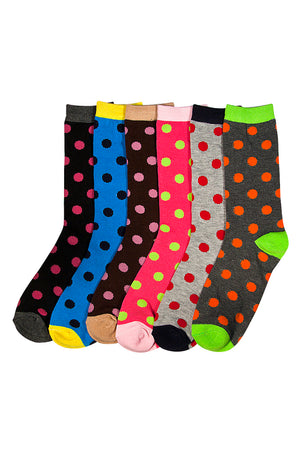 MAMIA LADIES DESIGN CREW SOCKS (POLKA)