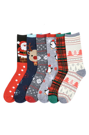 MAMIA LADIES DESIGN CREW SOCKS (X-MAS2)