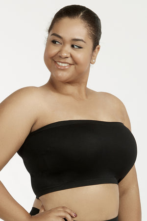 Load image into Gallery viewer, SOFRA LADIES SEAMLESS TUBE TOP BRA PLUS SIZE (BR0125STNX_BLACK)