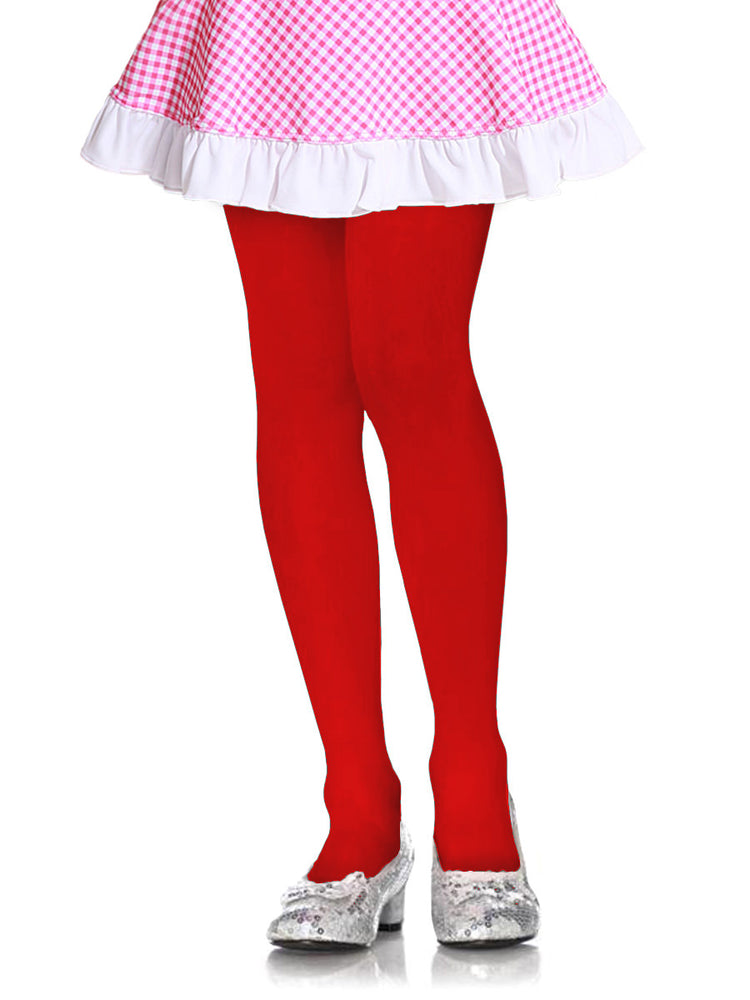 MOPAS GIRL'S PLAIN TIGHTS (GT100_RED)