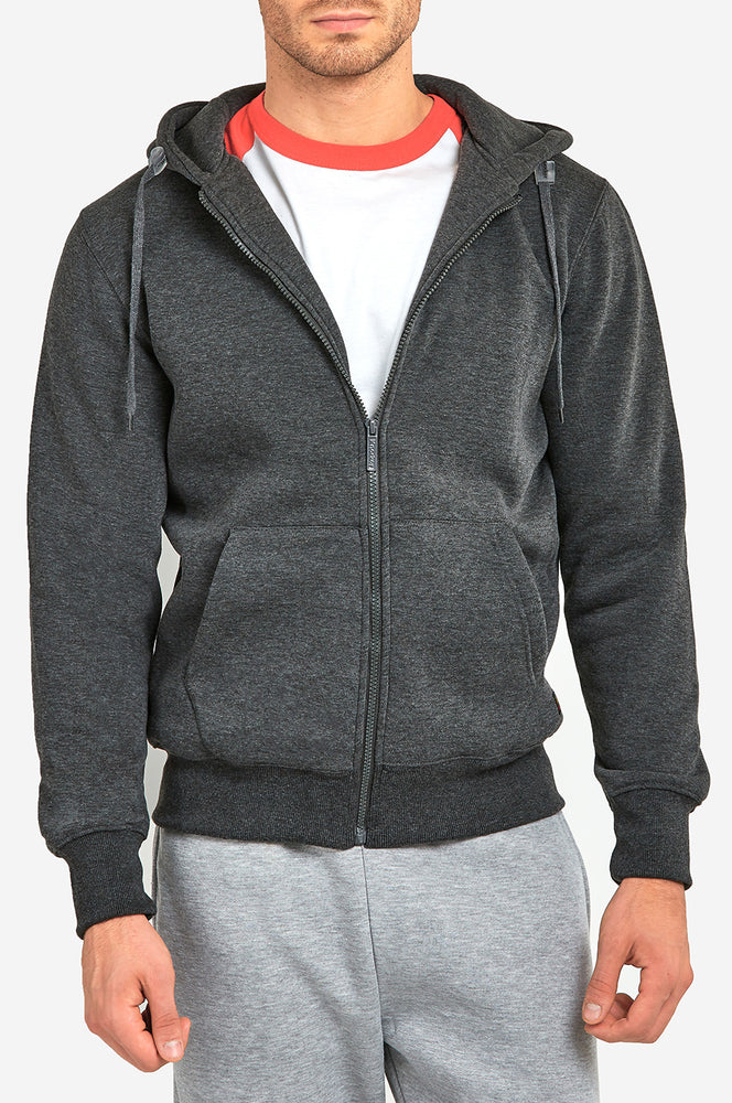 KNOCKER MEN'S HEAVY WEIGHT ZIPPER HOODIE (HD2000_CH/GR)