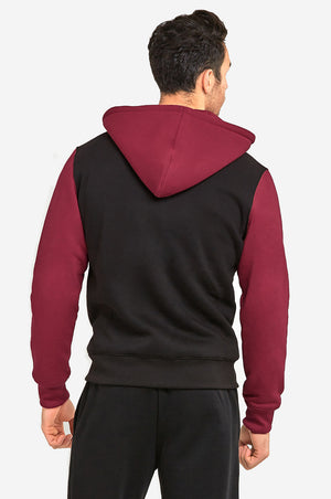Load image into Gallery viewer, KNOCKER MEN'S TWO-TONE ZIPPER HOODIE (HD2001_BLK/BUR)