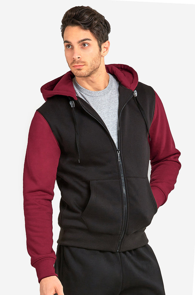 KNOCKER MEN'S TWO-TONE ZIPPER HOODIE (HD2001_BLK/BUR)