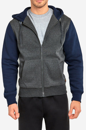 KNOCKER MEN'S TWO-TONE ZIPPER HOODIE (HD2001_C.GR/NV)