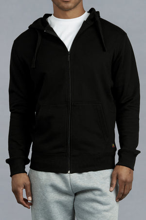 Load image into Gallery viewer, KNOCKER MEN'S COTTON TERRY ZIPPER HOODIE (HD3000_BLACK)