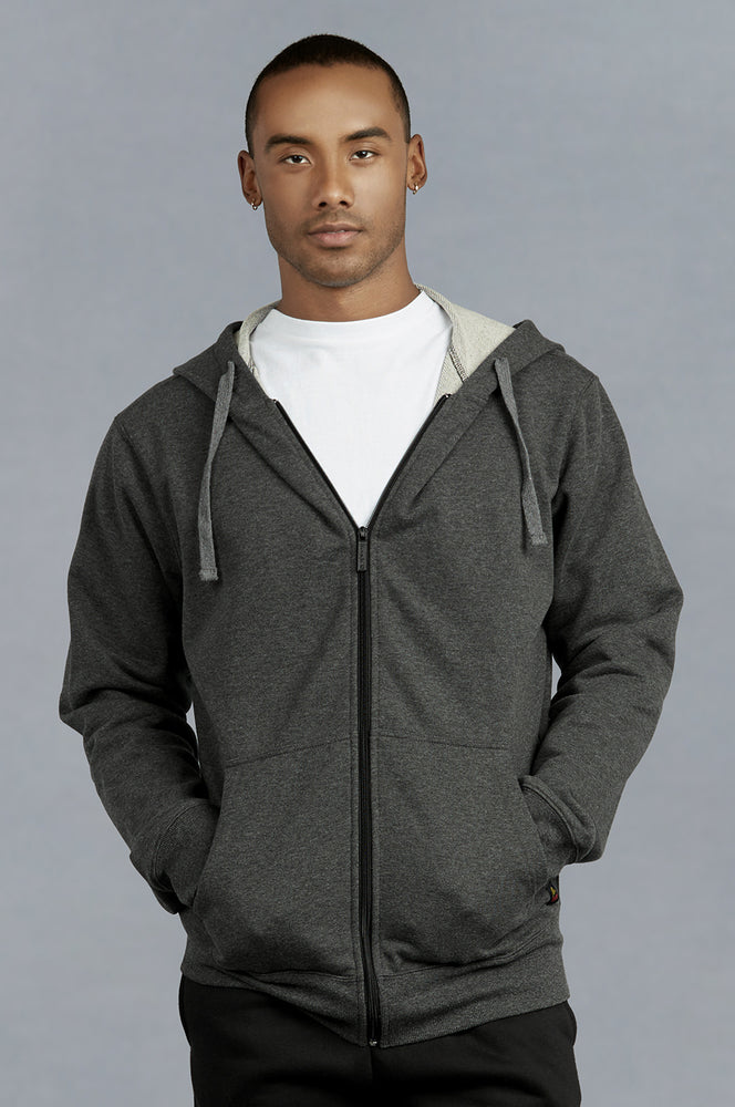 Load image into Gallery viewer, KNOCKER MEN'S COTTON TERRY ZIPPER HOODIE (HD3000_CH/GR)