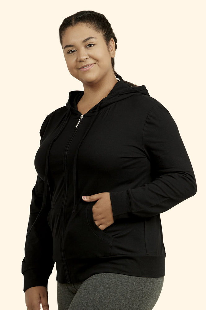 SOFRA LADIES THIN ZIP-UP HOODIE JACKET PLUS SIZE (HDC7000X_BLACK)