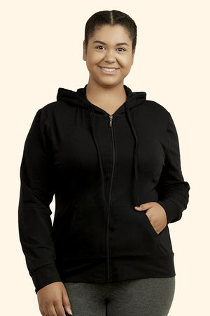 Load image into Gallery viewer, SOFRA LADIES THIN ZIP-UP HOODIE JACKET PLUS SIZE (HDC7000X_BLACK)