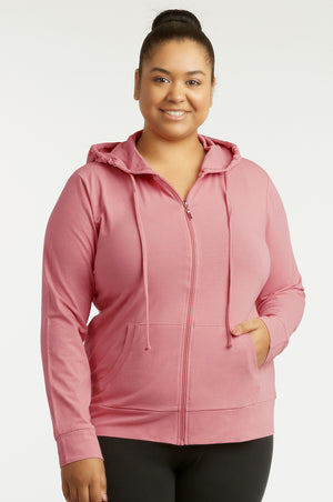 SOFRA LADIES THIN ZIP-UP HOODIE JACKET PLUS SIZE (HDC7000X_MV.ROSE)