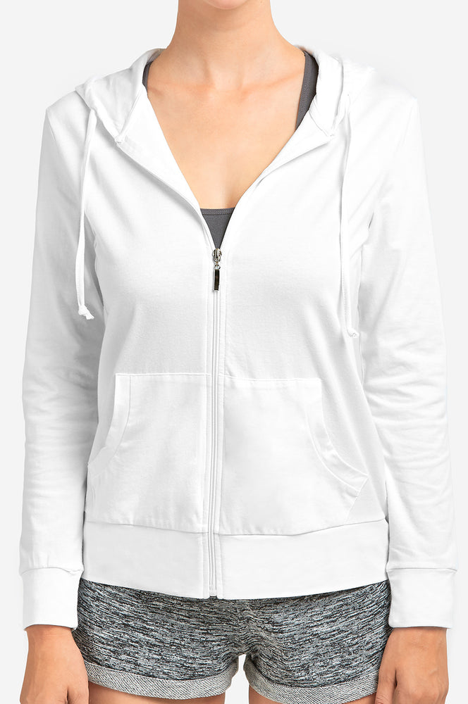SOFRA LADIES THIN ZIP-UP HOODIE JACKET (HDC7000_WHITE)
