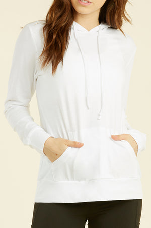 SOFRA LADIES THIN PULLOVER HOODIE (HDC7001_WHITE)