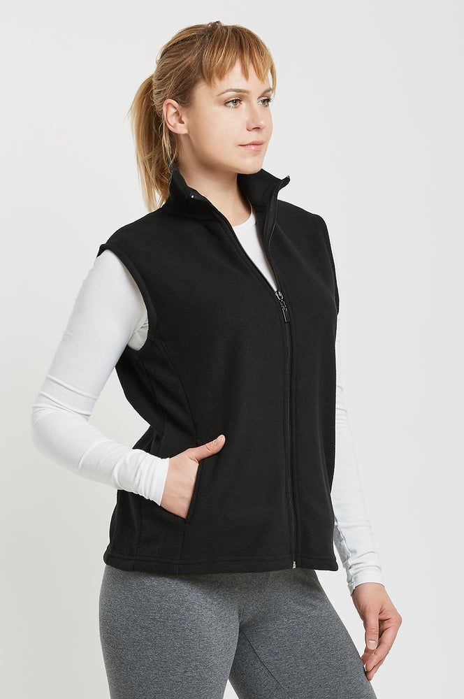 Load image into Gallery viewer, SOFRA LADIES POLAR FLEECE VEST (LPF100_BLACK_3PCS)