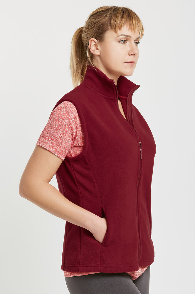 SOFRA LADIES POLAR FLEECE VEST (LPF100_BURGUNDY)