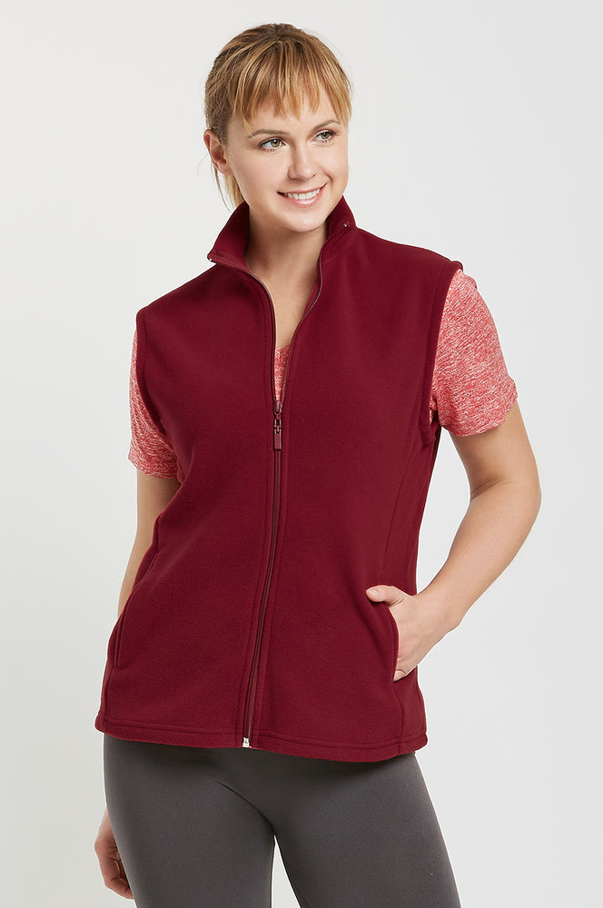 Load image into Gallery viewer, SOFRA LADIES POLAR FLEECE VEST (LPF100_BURG_3PCS)