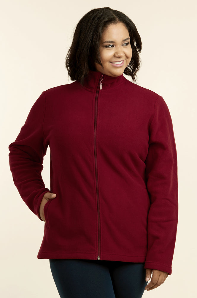 SOFRA LADIES POLAR FLEECE JACKET PLUS SIZE (LPF200X_BURGUNDY_3PCS)
