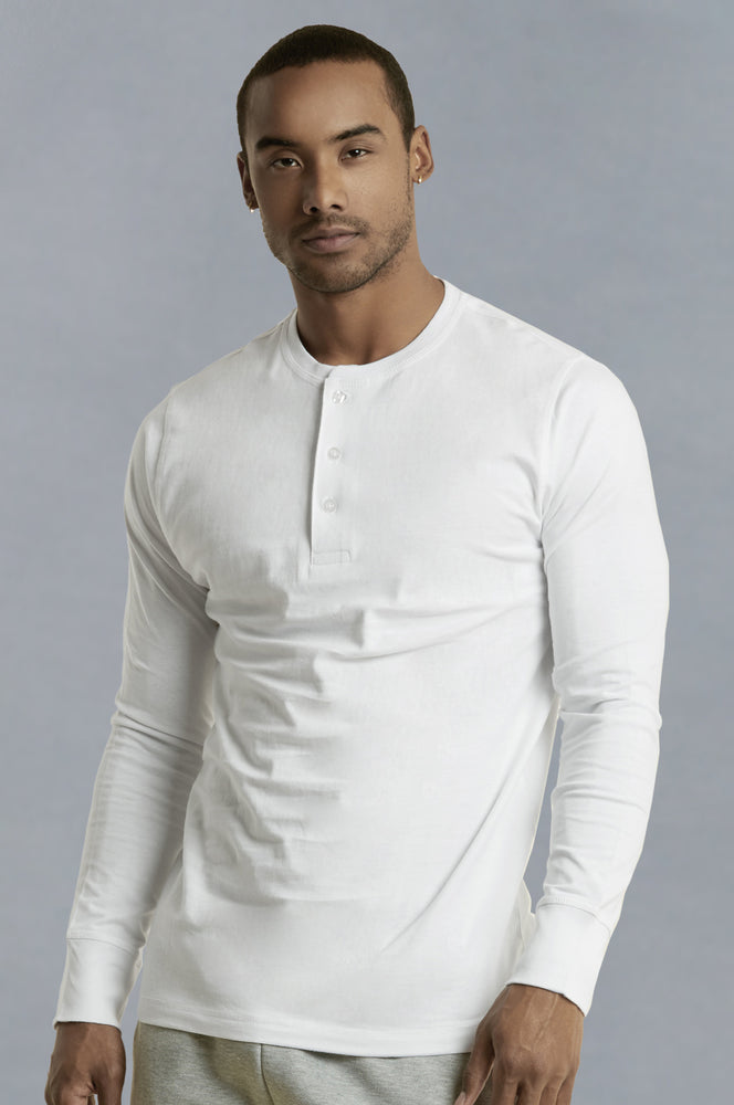 Load image into Gallery viewer, KNOCKER MEN'S HENLEY SHIRT (MHS001_WHITE)