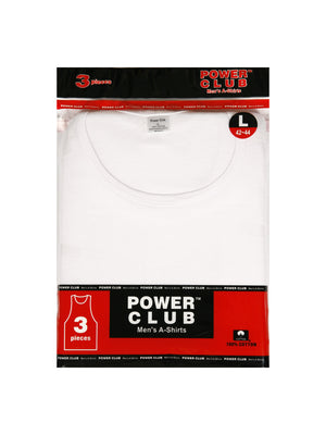 POWER CLUB MEN'S WHITE A-SHIRTS (PCW001)