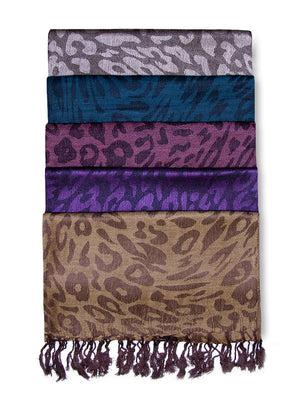 Load image into Gallery viewer, MOPAS LADIES PASHMINA STYLE PAISLEY WOVEN SCARF (PS100_LEOPARD)
