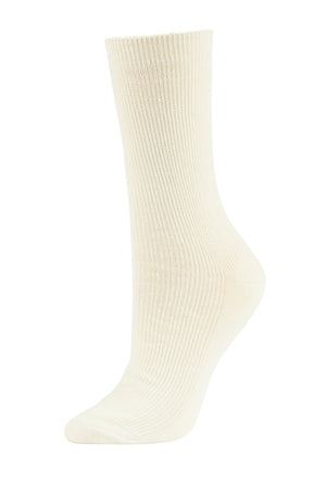 SOFRA WOMEN'S CREW SOCKS (SFC100_IVYRIB)