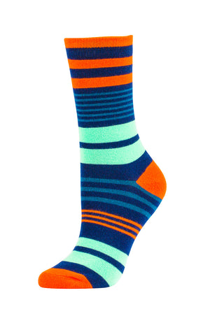 Load image into Gallery viewer, SOFRA WOMEN'S COTTON CREW SOCKS (SFC200_0-NAVY)