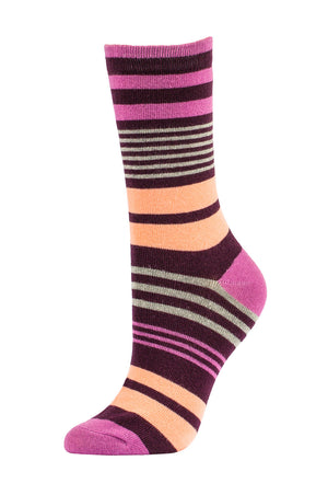Load image into Gallery viewer, SOFRA WOMEN'S COTTON CREW SOCKS (SFC200_0-WINE)