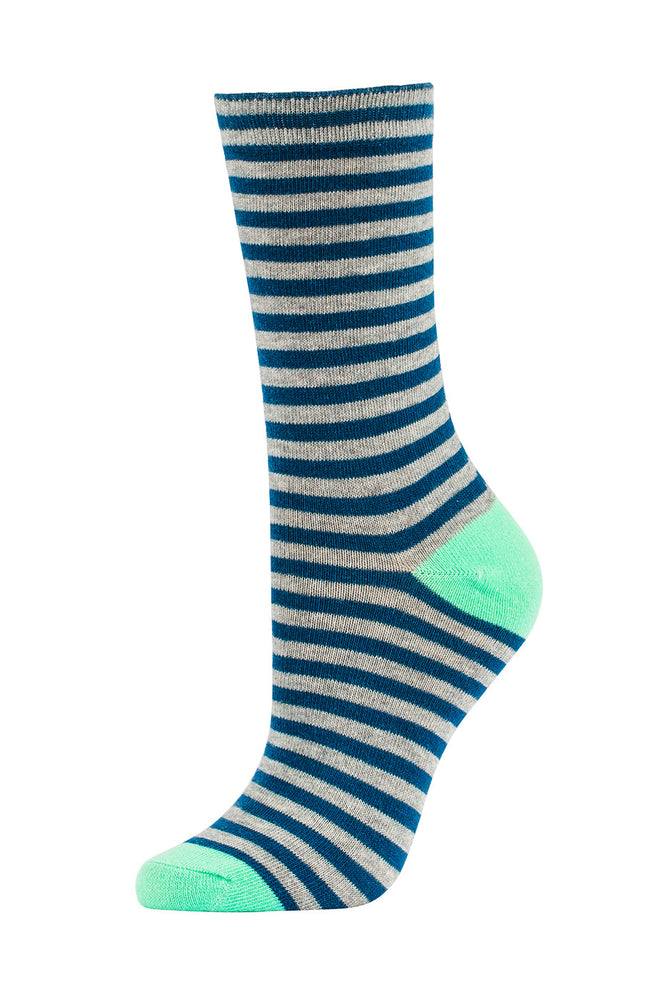 Load image into Gallery viewer, SOFRA WOMEN'S COTTON CREW SOCKS (SFC200_3-IBLU)