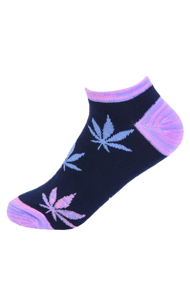 Load image into Gallery viewer, SOFRA WOMEN'S LEAF NO SHOW SOCKS (SFN110_BLUE)