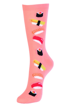 SOFRA WOMEN'S NOVELTY CREW SOCKS (SSC101_SUSHI)
