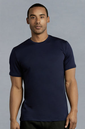 TOP PRO MEN'S ATHLETIC ROUNDNECK T-SHIRT (TAT310_NAVY)