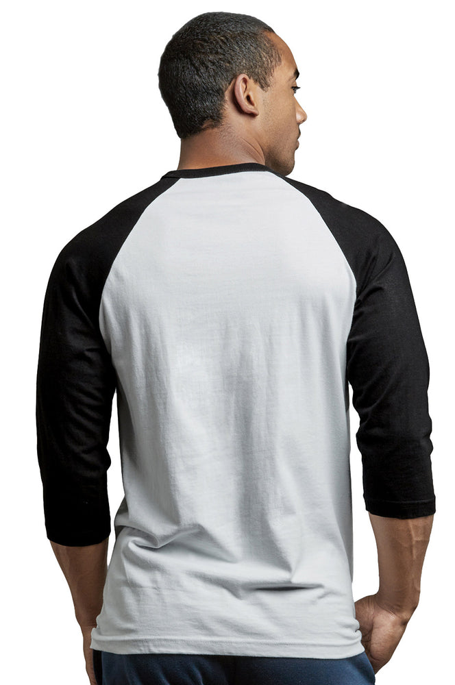 Load image into Gallery viewer, TOP PRO MEN'S 3/4 SLEEVE BASEBALL TEE (MBT001_BLK/WHT)