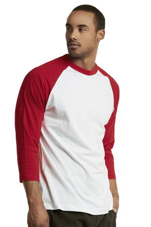 TOP PRO MEN'S 3/4 SLEEVE BASEBALL TEE (MBT001_RED/WHT)