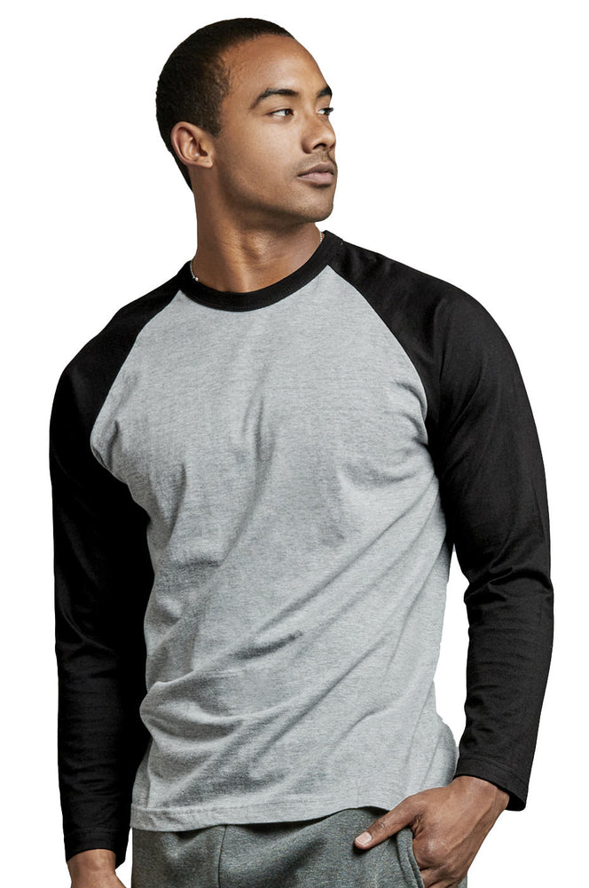 Load image into Gallery viewer, TOP PRO MEN'S LONG SLEEVE BASEBALL TEE (MBT002_BLK/LT.G)